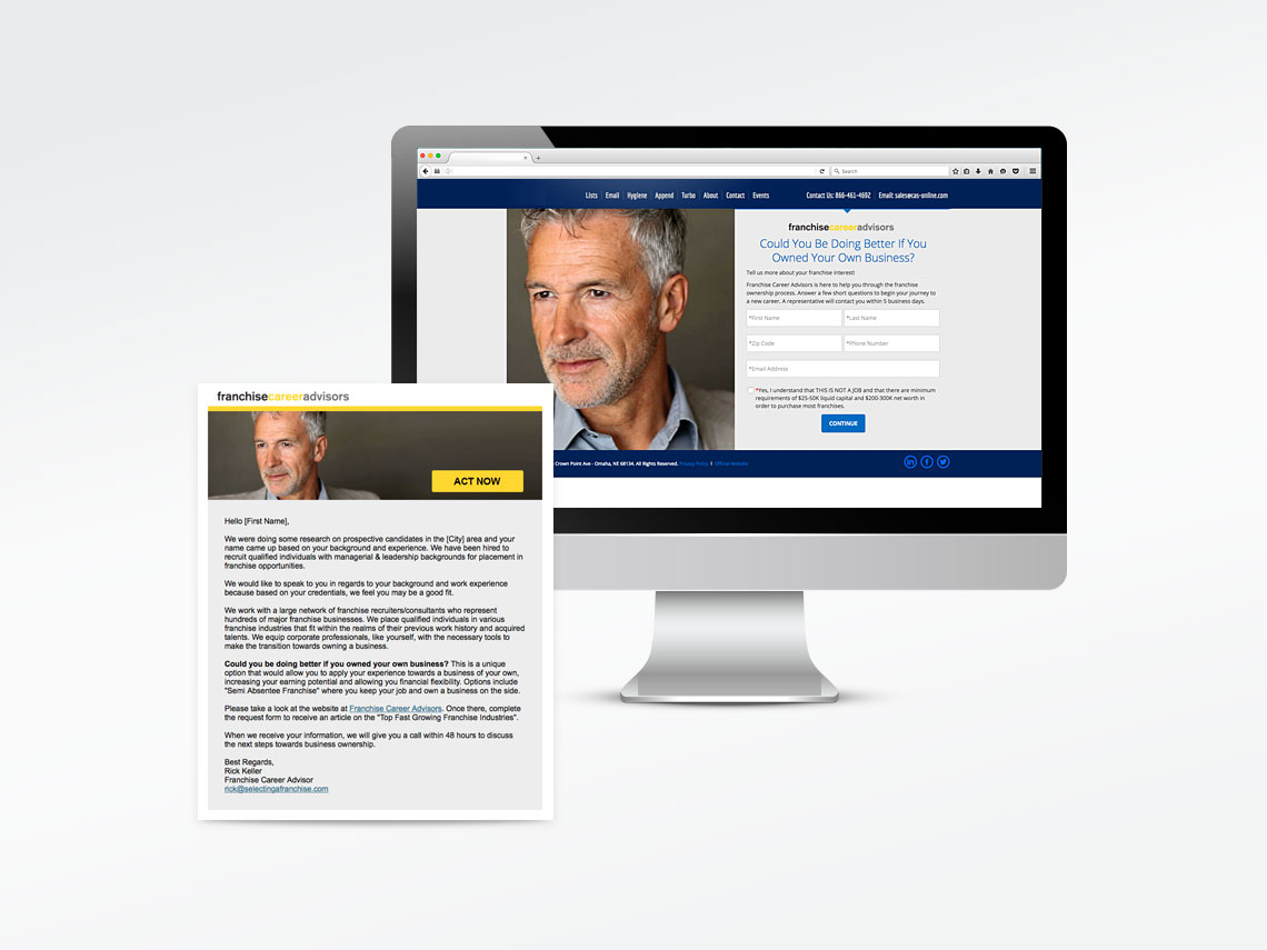 Franchise Career Advisors Email & Landing Page